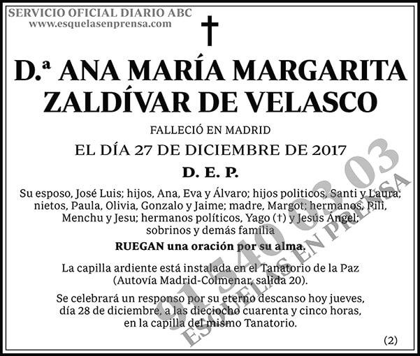 Ana María Margarita Zaldívar de Velasco